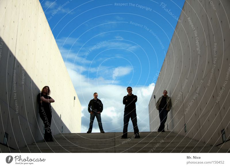 four ste(c)her Rock band 4 Easygoing Cool (slang) Sky Unwavering Concrete Friendship Stairs Clouds Group Detail Musician String the wall low behaviour