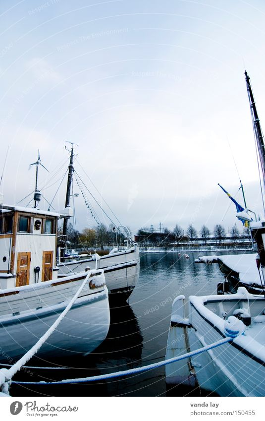 Water Winter Cold Snow Lake Ice Watercraft Feasts & Celebrations Coast Rope Harbour Craft (trade) Navigation Electricity pylon Sweden Scandinavia