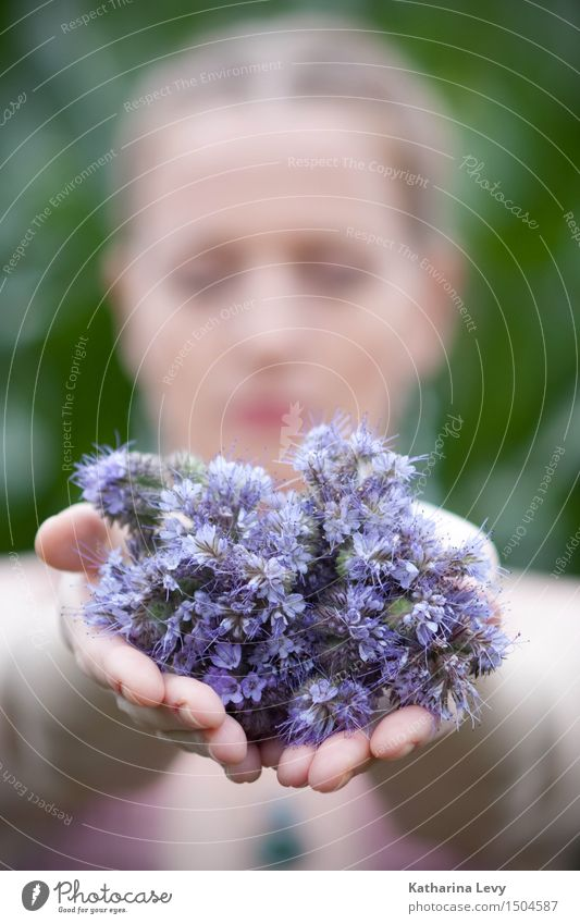Human being Woman Plant Green Summer Hand Flower Relaxation Calm Adults Feminine Garden Pink Field Blonde Arm