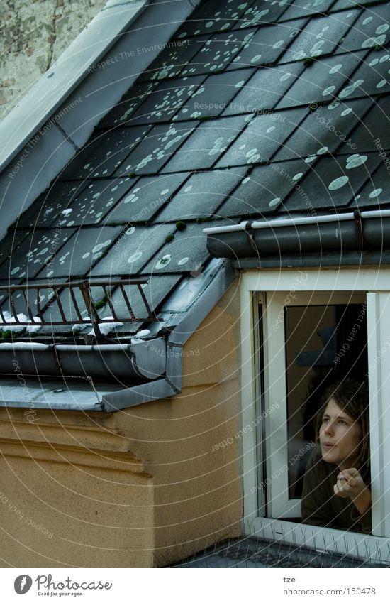 The smoker Smoke Smoking Dreadlocks Kreuzberg Flat (apartment) Interior courtyard Roof Dreamily Winter Cold
