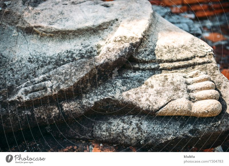 Hand and foot of Buddha statue in Ayutthaya, Thailand Design Face Meditation Feet Culture Sky Clouds Architecture Old Belief Religion and faith Ancient Asia