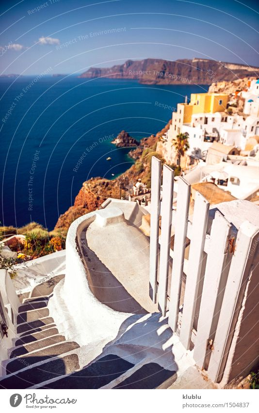 Greece, Santorini island, Oia village, White architecture Sky Nature Vacation & Travel City Blue Beautiful Summer White Ocean Landscape House (Residential Structure) Mountain Architecture Building Rock Watercraft