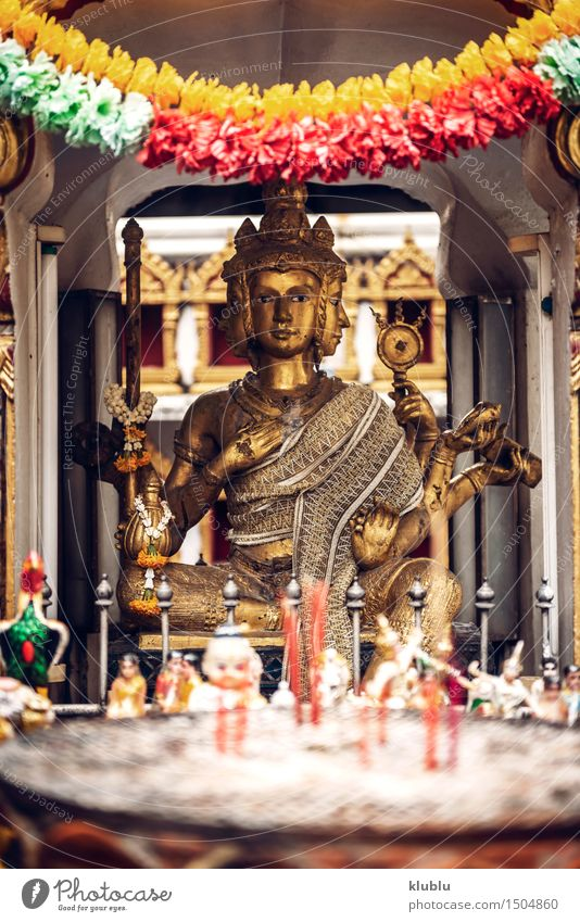 Phra Phrom statue in Bangkok a street Sky Street Architecture Religion and faith Art Tourism Decoration Culture Asia Tradition Monument Statue God India Thailand Church service
