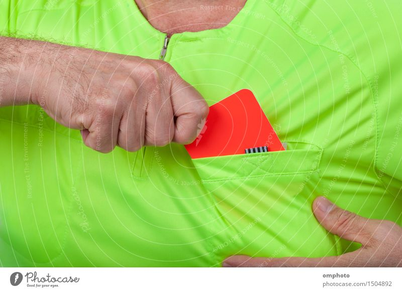 Referee Whit Red Card Sports Soccer Human being Man Adults Hand Shirt Yellow Green Red card sign punishment football penalty official judge authority