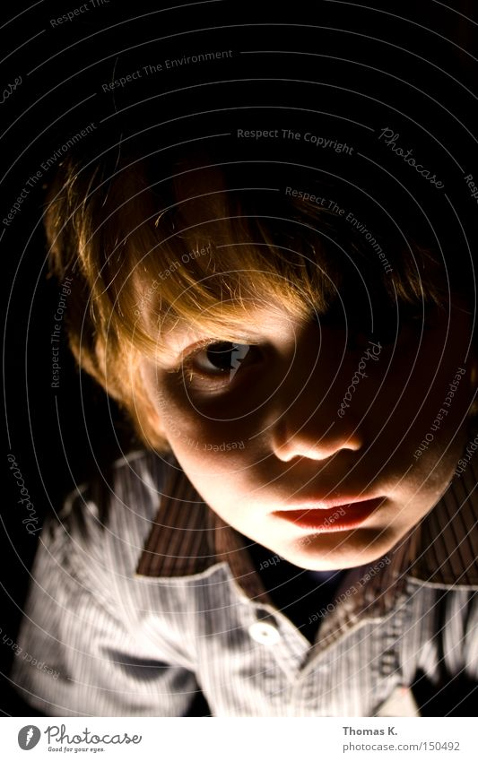 into the light Light Shadow Dark Fear Face Portrait photograph Boy (child) Child Schoolchild Creepy Loneliness Trust Panic Spooky