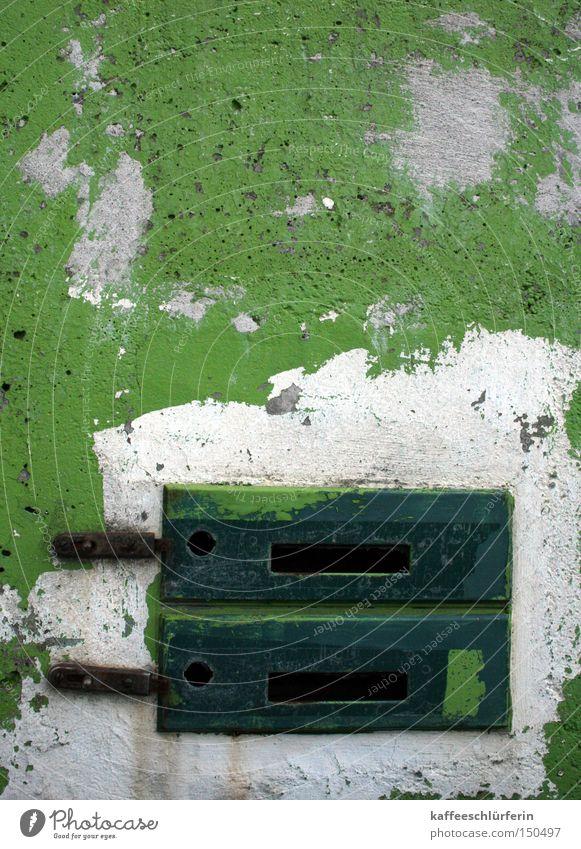 White Green Wall (barrier) Derelict Mail Mailbox Slit