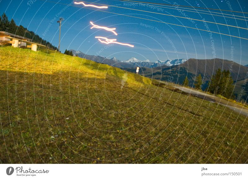 hot air salmon tracks Night Meadow Long exposure Real estate Grass Light Mountain Stripe Strip of light Night shot Joy Painting (action, work)