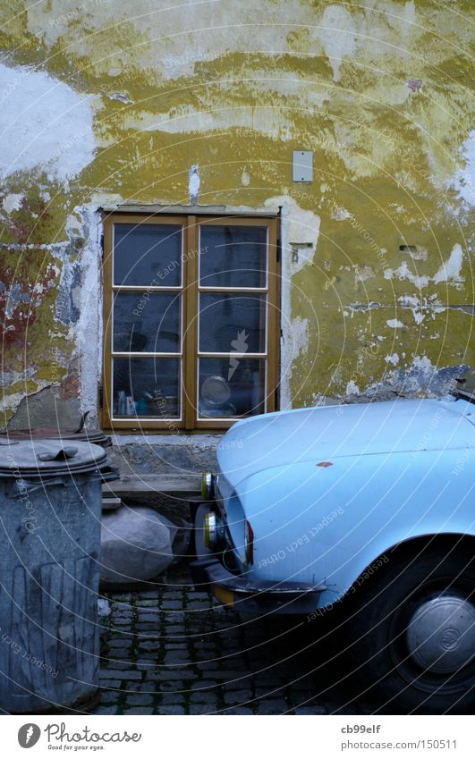 Old Blue Window Car Facade Motor vehicle Trash container Old town Czech Republic Cesky Krumlov