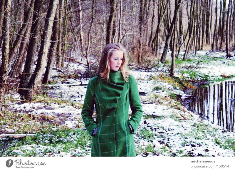 girl in the forest Forest Green Brook Leaf Loneliness Beautiful Esthetic Fairy Fairy tale Dreamily Tree Grass Winter