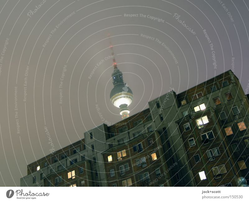 Goodnight middle programme Telecommunications Bad weather Fog Frost Downtown Berlin Capital city House (Residential Structure) Tower built Architecture Window
