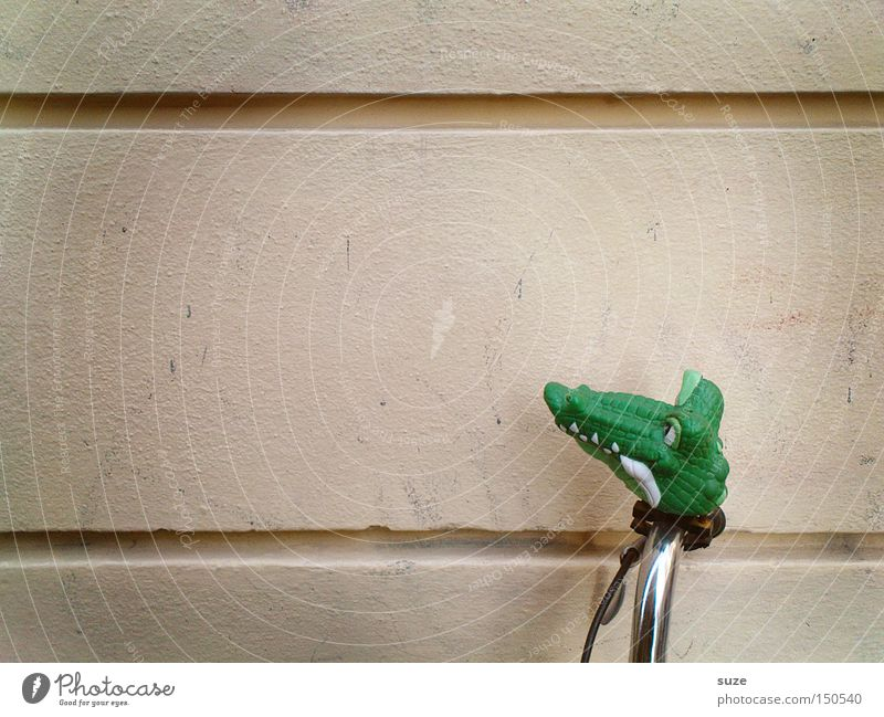 distracted Bicycle Green Bicycle handlebars Crocodile Wall (building) Bicycle bell Rubber Parking Funny Colour photo Subdued colour Exterior shot Deserted