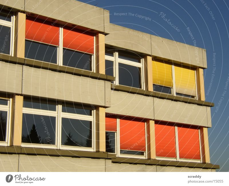 Sky Blue Sun Yellow Window Architecture School Orange Facade School building Blue sky High School Roller shutter Education Concrete construction