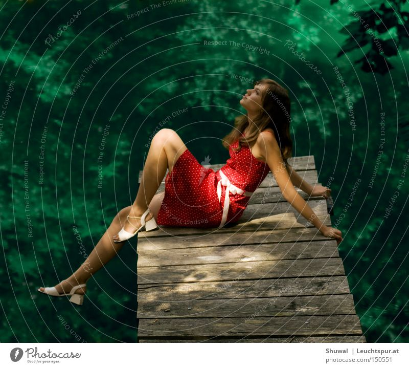 Woman Nature Youth (Young adults) Water Green Beautiful Red Summer Adults Forest Feminine Freedom Portrait photograph Spring Dream Legs