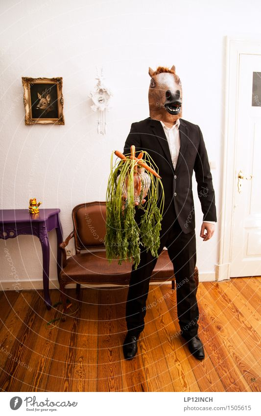 LP. HORSEMAN. XII Nutrition Living or residing Flat (apartment) Carnival Hallowe'en Masculine Man Adults 1 Human being Fashion Clothing Suit Horse Animal Wait