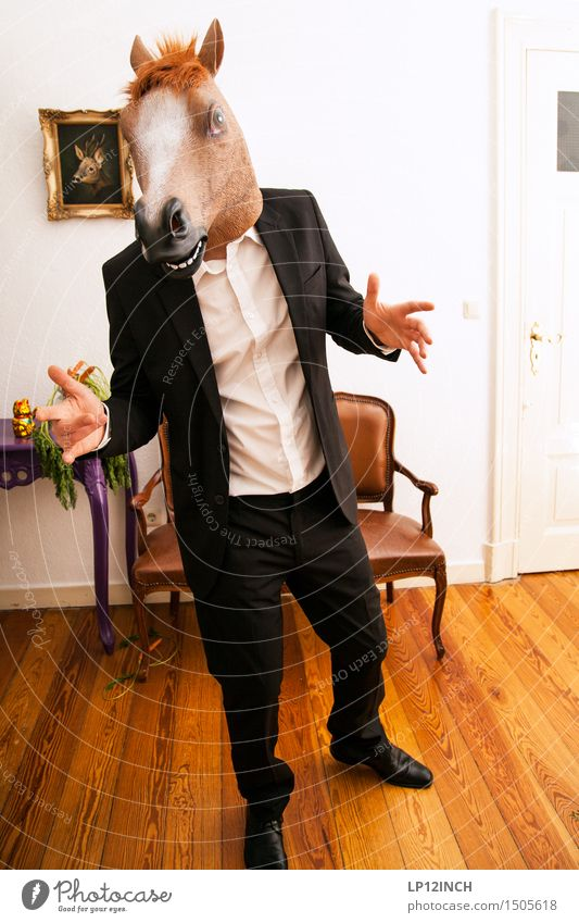 LP. HORSEMAN. XIV Interior design Decoration Party Event Carnival Hallowe'en Masculine Man Adults 1 Human being Suit Horse Animal To talk Argument Creepy Town