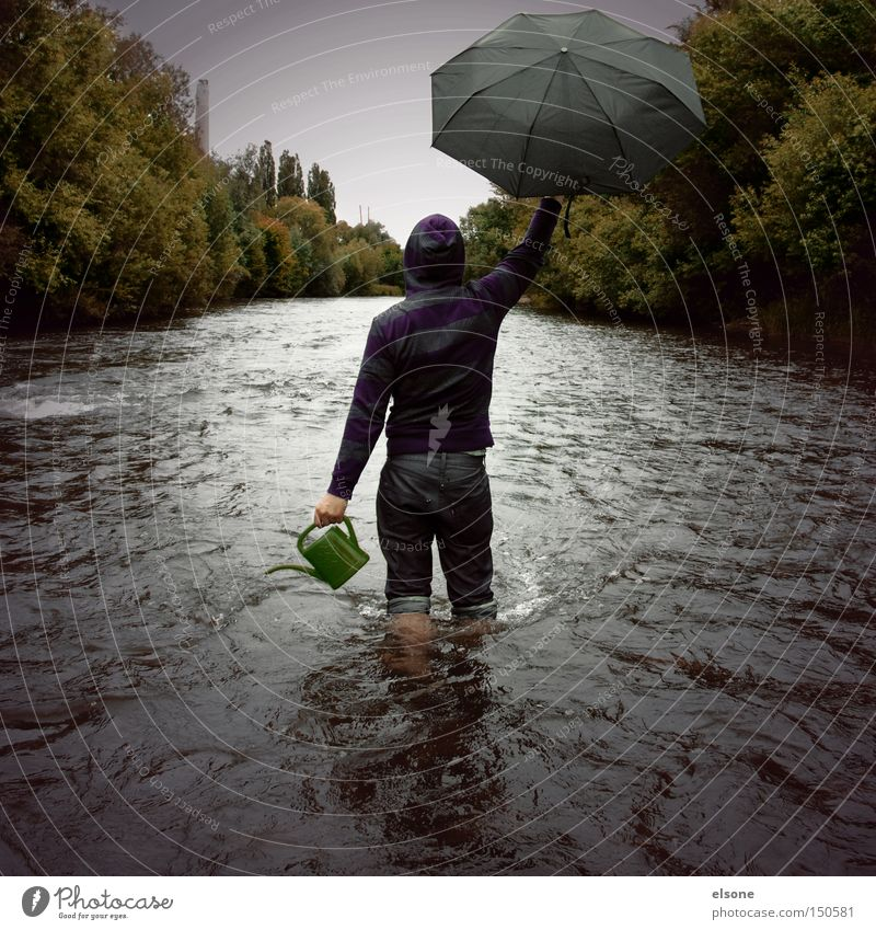 Human being Nature Water Green Forest Autumn Rain Environment Adventure River Umbrella Gale Brook Environmental protection Revolution Watering can