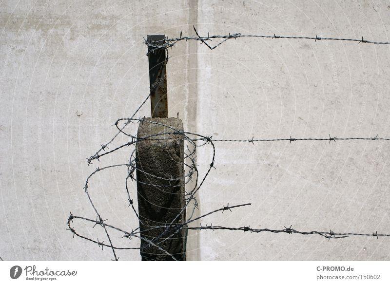 security risk Barbed wire Wall (barrier) Fear Dangerous War Concrete Gray Gloomy Broken Break-in Outbreak Penitentiary Escape Curse People trafficker Panic