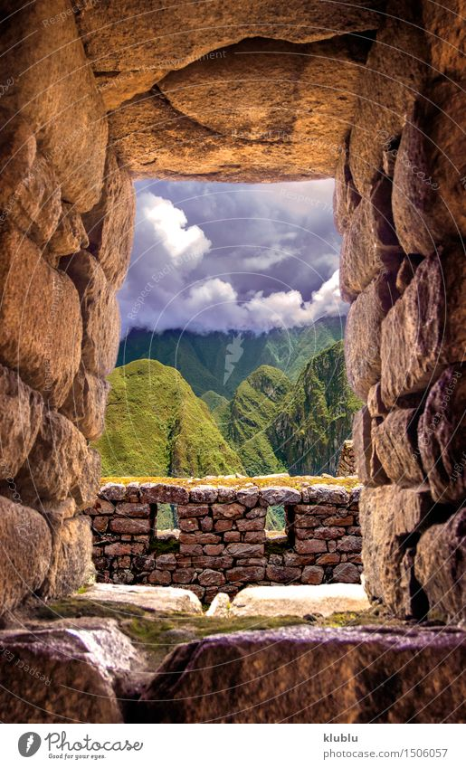 Inca city Machu Picchu (Peru) Tourism Mountain Clouds Rain Forest Town Ruin Building Terrace Lanes & trails Stone Old Discover Historic Society machu picchu