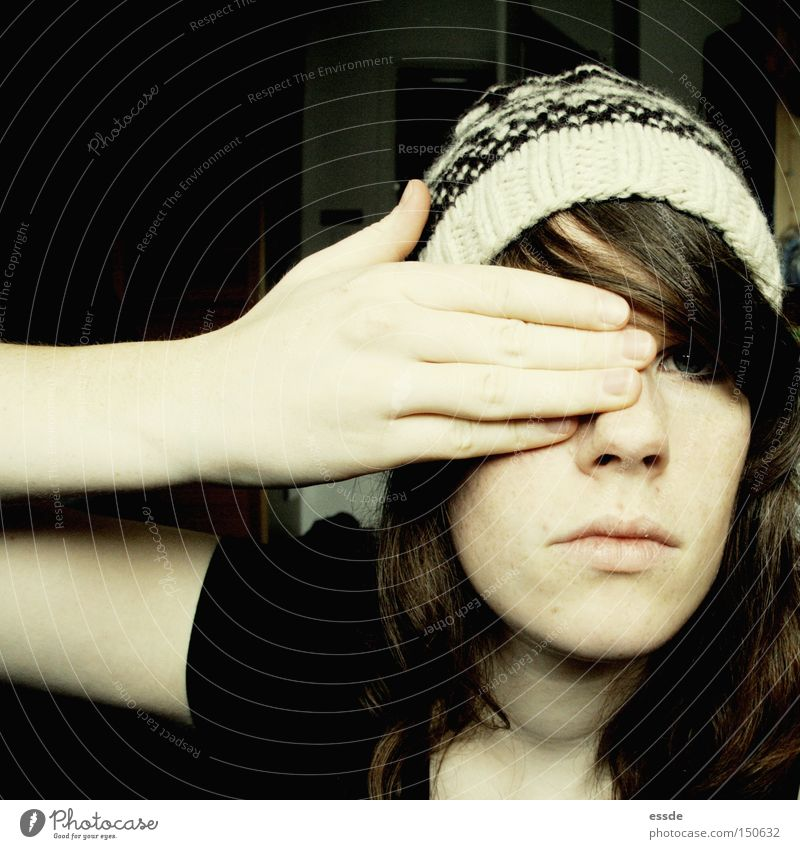 Woman Hand Winter Face Eyes Dark Bright Fear Adults Arm Fingers Discover Cap Hide Panic Earnest