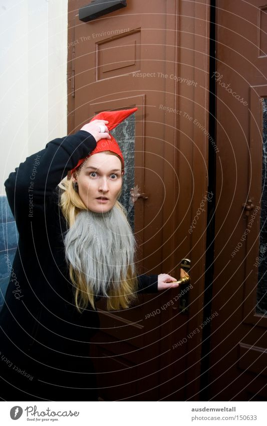 Damn... caught! Santa Claus Christmas & Advent Red Cap Facial hair Door Woman Dress up Disguised Scare December Cold Feasts & Celebrations Work and employment