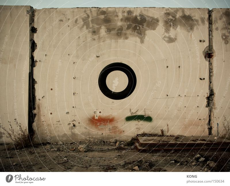 Old Wall (barrier) Flying Tall Circle Motor vehicle Aviation Round Transience Derelict Obscure Decline Tire Hover Accident Plaster