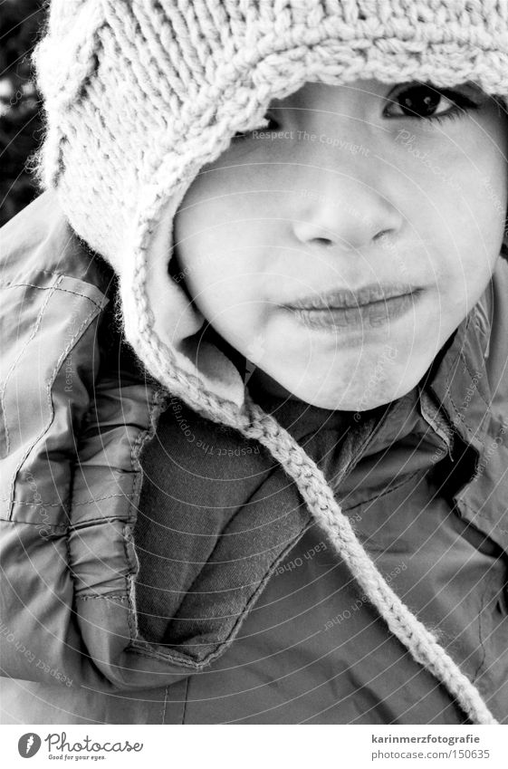 'Look...' Boy (child) Cap Mouth Winter Cold Insecure Grief Child Face Eyes Black & white photo Sadness Fear