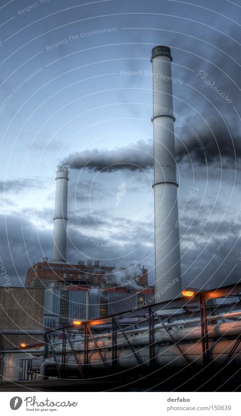 Clouds Work and employment Germany Industry Factory Smoke Exhaust gas Chimney Night Production Industrial plant HDR Industrialization