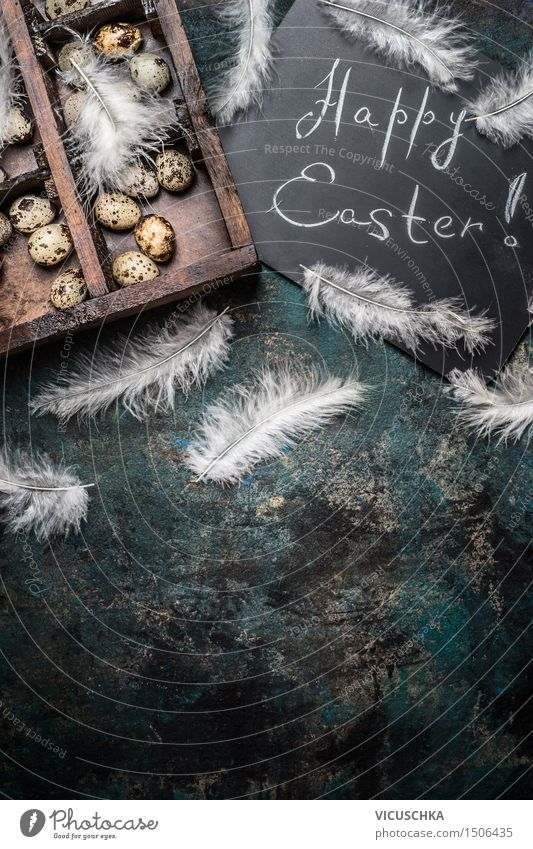 Happy Easter background with quail eggs Lifestyle Style Design Table Feasts & Celebrations Box Decoration Wood Retro Tradition Background picture Grunge