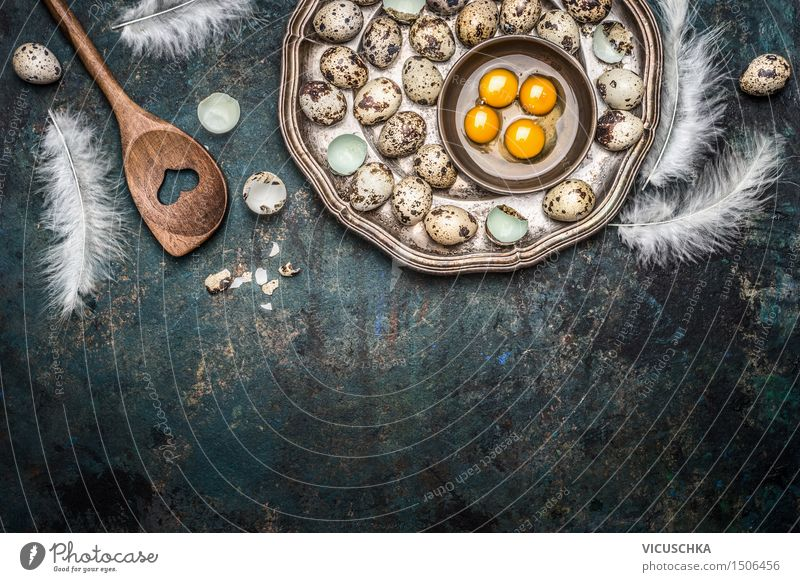 Quail eggs and cooking spoons Food Nutrition Breakfast Lunch Organic produce Plate Spoon Style Design Healthy Eating Life Table Easter Nature Wooden spoon Jump