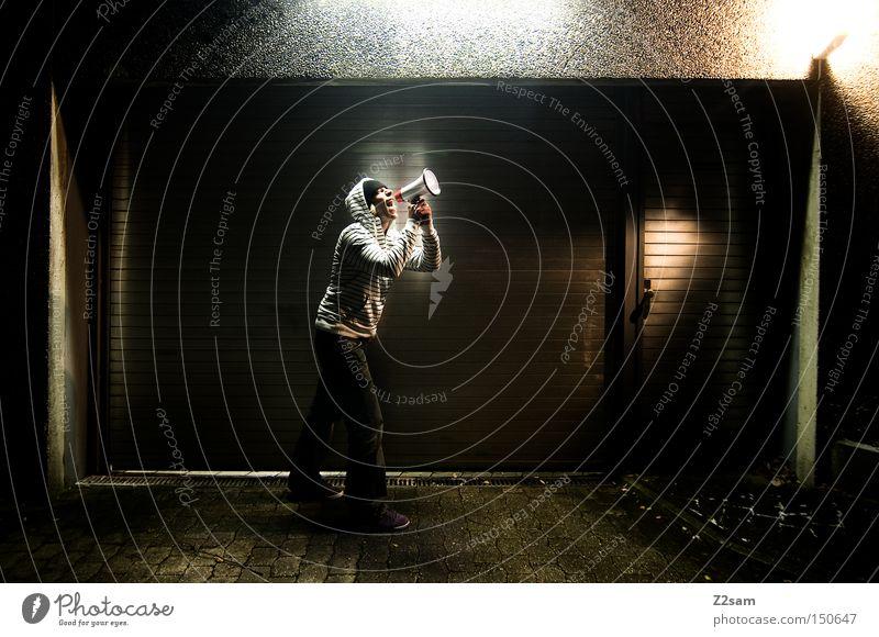 bawler Squaller Megaphone Garage Light Night Hooded (clothing) Sweater Striped Scream Communicate Human being Gate Metal Light (Natural Phenomenon)