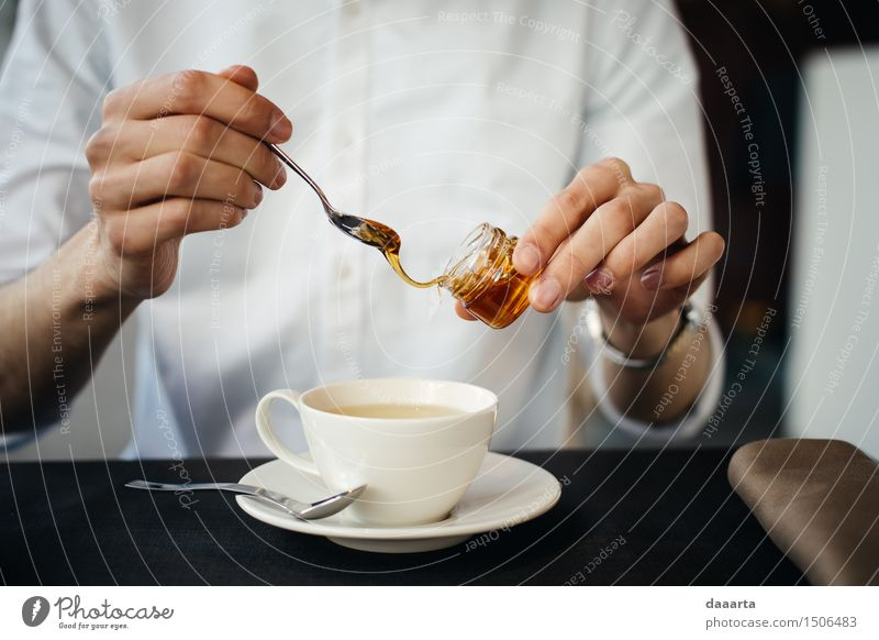 winter: adding honey Food Honey Beverage Hot drink Tea Mug Bottle Spoon Lifestyle Elegant Style Design Joy Harmonious Senses Relaxation Leisure and hobbies