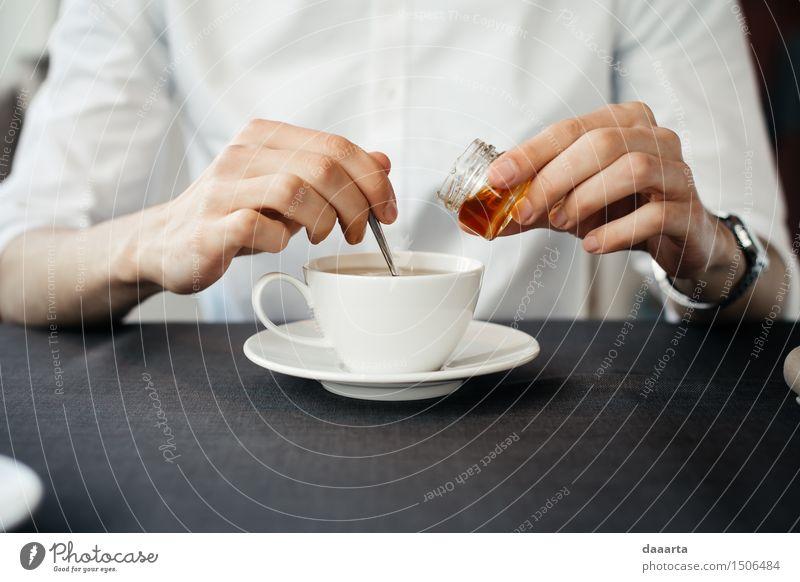 making tea Candy Honey Beverage Hot drink Tea Mug Lifestyle Elegant Style Joy Harmonious Senses Relaxation Leisure and hobbies Trip Adventure Freedom