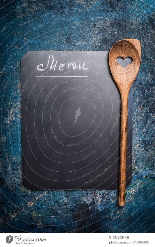 Menu background with table and wooden spoon with heart Nutrition Lunch Buffet Brunch Banquet Spoon Style Design Flat (apartment) Interior design Decoration