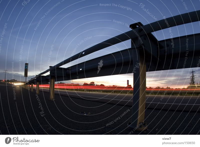 guardrail Crash barrier Transport Street Highway Night Traffic infrastructure Freeway Evening Fisheye Light (Natural Phenomenon) Tracks Bright Pole Sky