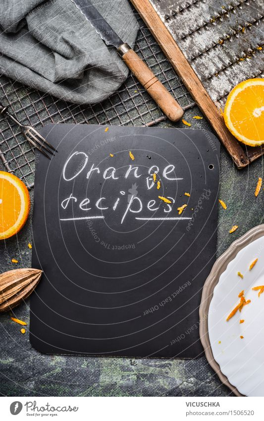 Orange recipes background with kitchen utensils Food Nutrition Breakfast Organic produce Juice Crockery Plate Bowl Cutlery Knives Fork Healthy Eating Life Table