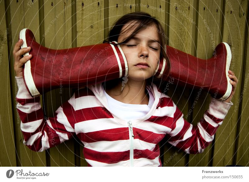 Child Girl Playing Music Education Concentrate Listening Watchfulness Sound Fantasy literature Rubber boots Culture