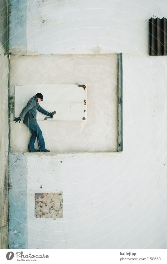 Human being Man White Wall (building) Door Stop To hold on Services Rotate Door handle Distorted Agent
