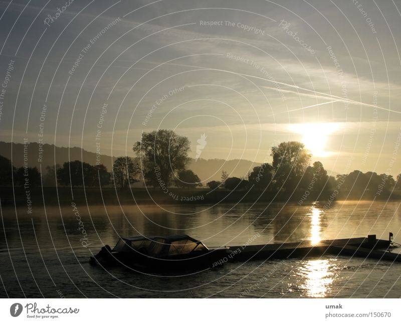 In the morning Elbe Dawn Sunrise Sunset River Dusk Jetty Nature Landscape Water Fog Watercraft Brook