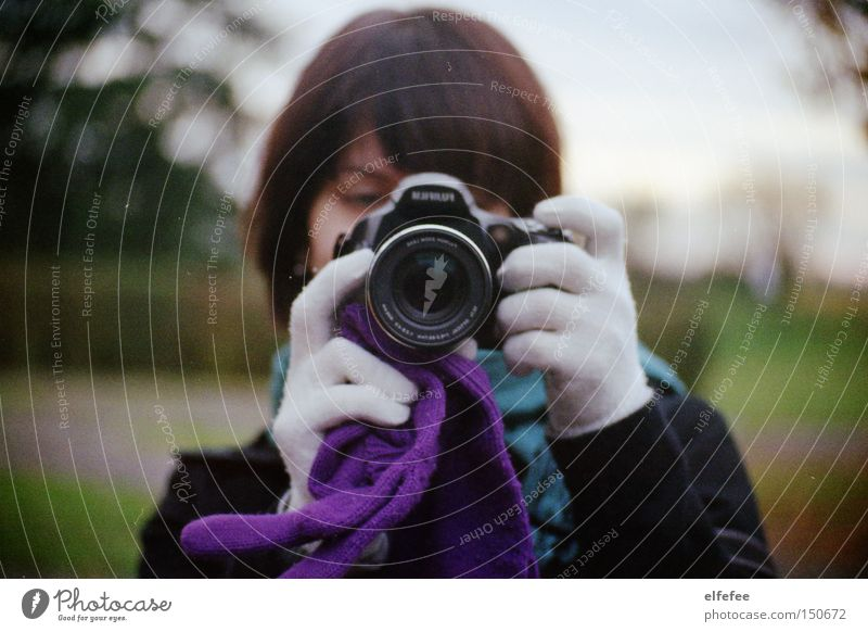 taking photos of someone else. Photography Camera Gloves Face Hand Coat Meadow Tree Woman Scarf Winter Autumn Cold Blur Leisure and hobbies