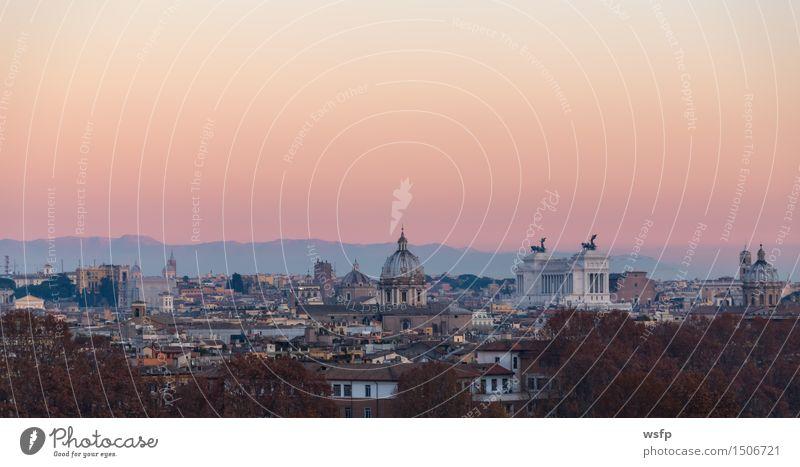 Rome from the Gianicolo Panorama at sunset Tourism Town Old town Architecture Roof Historic panorama gianicolo Sunset Appearance History of the Italy Domed roof