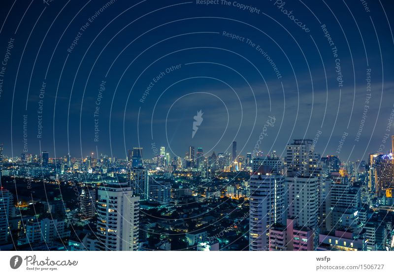 Bangkok skyline at night panorama Office Town Downtown Skyline High-rise Architecture Blue Lighting Quarter sukhumvit Bench Asia Thailand City of Angels Night