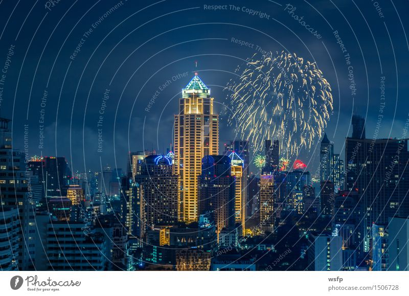 City Architecture Lighting Feasts & Celebrations Office High-rise Asia Skyline New Year's Eve Downtown Firecracker Quarter Thailand Bangkok