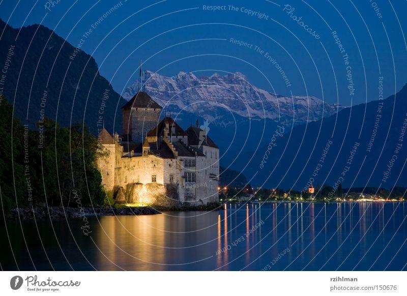 Chillon Castle with the Dents du Midi Lac Lemon Lake Mountain Blue Twilight Fortress Past Light Switzerland Historic chillon Lamp