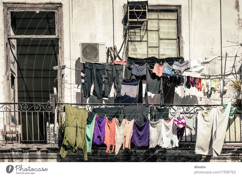 hang out Vacation & Travel Tourism City trip Summer Summer vacation Sun Living or residing Flat (apartment) Laundry Clothesline Washing Washing day Havana Cuba