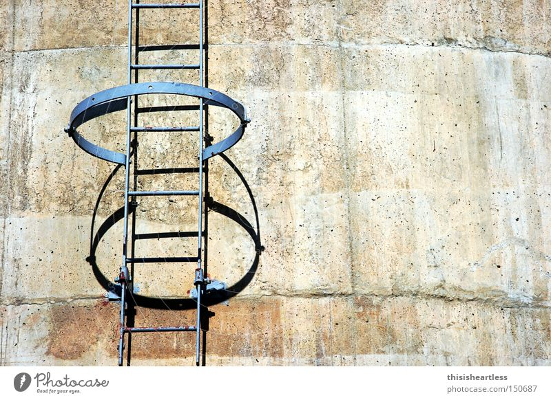 where are you going? Stairs Ladder Go up Dangerous Absurdity Curiosity Loneliness Gray Concrete Steel Industry Derelict Threat Row Circle Chimney 3Food