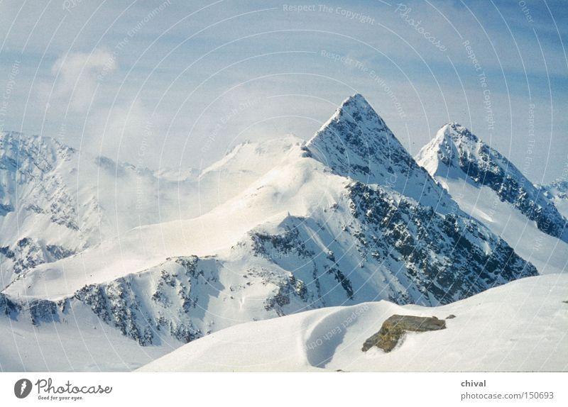 Blue Winter Clouds Snow Mountain Ice Rock Fog Point Alps Mountain ridge Ski tour