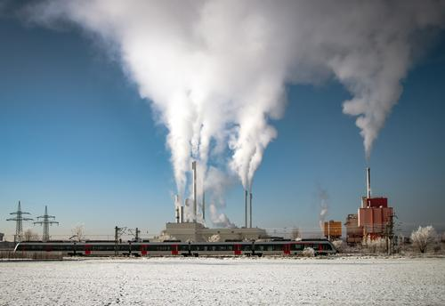 full steam Winter Industry Energy industry Company Renewable energy Architecture Environment Sky Clouds Beautiful weather Snow Industrial plant Factory