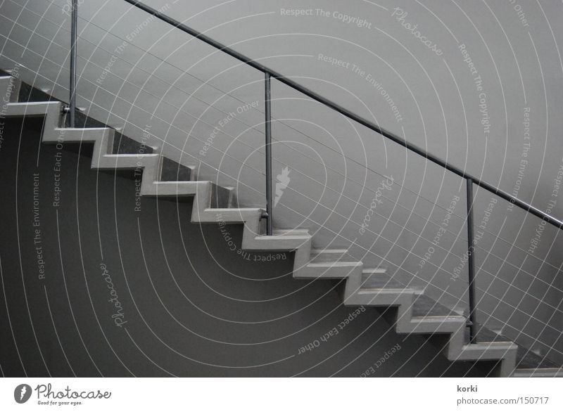Gray Concrete Perspective Stairs Upward Diagonal Handrail Downward Banister