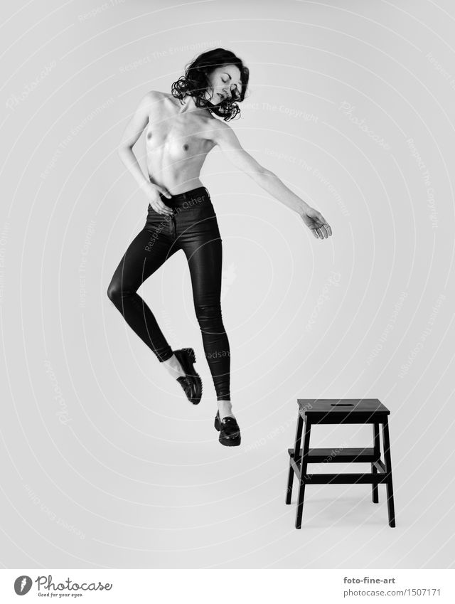 "Nude recording ""jump"" Nude photography Woman Body Chest Jump Young woman Pants Footwear Looking Flying Floating Snapshot nude Art Fashion Figure"