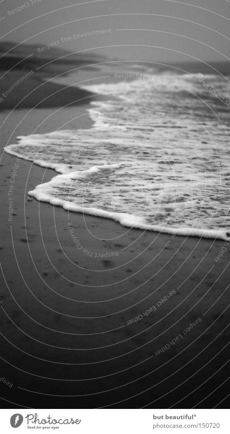 loneliness Loneliness Grief Longing Beach Ocean Sylt Gray Dark Dreary Hope Beautiful Coast Soul Black & white photo Sadness